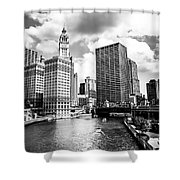 Chicago Downtown At Michigan Avenue Bridge Picture Shower Curtain