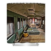Chicago Eastern Il Rr Car Restoration With Blue Print Shower Curtain