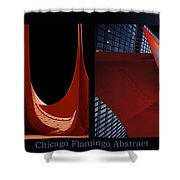 Chicago Flamingo Abstract 01 2 Panel Shower Curtain