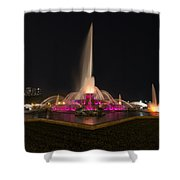 Chicago Fountain At Night Shower Curtain