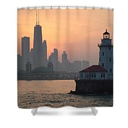 Chicago Harbor Lighthouse At Sunset Shower Curtain