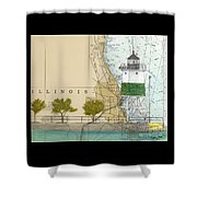 Chicago Harbor Se Guidewall Lighthouse Il Nautical Chart Art Shower Curtain