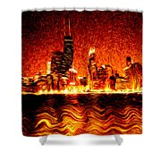Chicago Hell Digital Painting Shower Curtain
