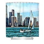 Chicago Il - Sailboat Against Chicago Skyline Shower Curtain