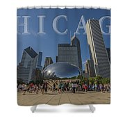 Chicago Illinois Bean Letters Shower Curtain