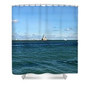 Chicago Illinois Harbor Lighthouse And Little Lady Tour Boat Usa Shower Curtain