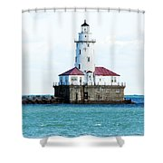 Chicago Illinois Harbor Lighthouse Close Up Usa Shower Curtain