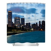 Chicago Lake Front At Blue Hour Shower Curtain
