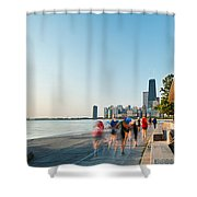 Chicago Lakefront Panorama Shower Curtain