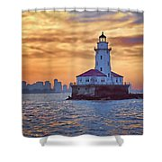 Chicago Lighthouse Impression Shower Curtain