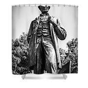 Chicago Lincoln Standing Statue In Black And White Shower Curtain by Paul Velgos