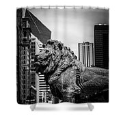 Chicago Lion Statues In Black And White Shower Curtain