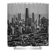 Chicago Looking East 01 Black And White Shower Curtain