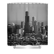Chicago Looking East 02 Black And White Shower Curtain