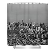 Chicago Looking North 01 Black And White Shower Curtain