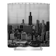 Chicago Looking West 01 Black And White Shower Curtain