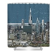 Chicago Looking West In A Snow Storm Digital Art Shower Curtain