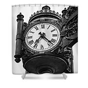 Chicago Macy's Marshall Field's Clock In Black And White Shower Curtain