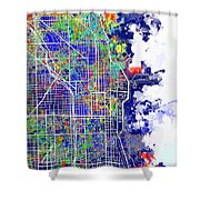 Chicago Map Color Splash Shower Curtain