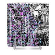Chicago Map Drawing Collage 4 Shower Curtain