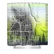 Chicago Map Gradient Shower Curtain