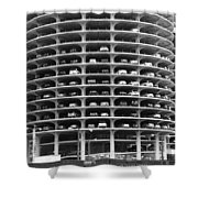 Chicago Marina City Parking Bw Shower Curtain