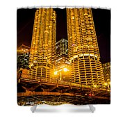 Chicago Marina City Towers At Night Picture Shower Curtain