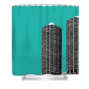 Chicago Skyline Marina Towers - Teal Shower Curtain