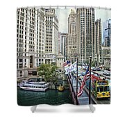 Chicago Michigan Avenue V Hdr Textured Shower Curtain