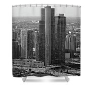 Chicago Modern Skyscraper Black And White Shower Curtain