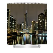 Chicago Night River View Shower Curtain