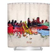 Chicago Painted City Skyline Shower Curtain