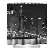 Chicago River At Night Black And White Shower Curtain