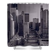 Chicago River Bridges South Bw Shower Curtain