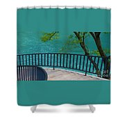 Chicago River Green Shower Curtain