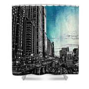 Chicago River Hdr Sc Textured Shower Curtain