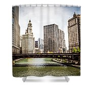 Chicago River Skyline At Wabash Avenue Bridge Shower Curtain
