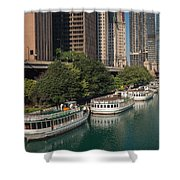 Chicago River Tour Boats Shower Curtain