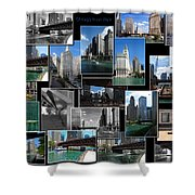 Chicago River Walk Collage Shower Curtain