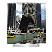 Chicago River Walk Construction Shower Curtain