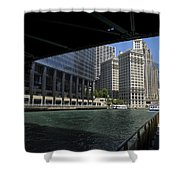 Chicago River Walk Going East 02 Shower Curtain