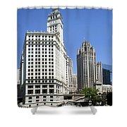 Chicago River Walk Wrigley And Tribune Shower Curtain