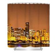 Chicago Skyine At Night Panoramic Photo Shower Curtain