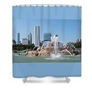 Chicago Skyline And Fountain Shower Curtain