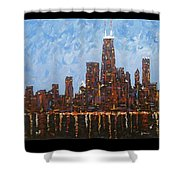Chicago Skyline At Night From North Avenue Pier Shower Curtain