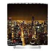 Chicago Skyline At Night I Shower Curtain