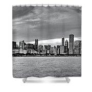 Chicago Skyline Black And White Shower Curtain