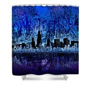 Chicago Skyline Blue Version Shower Curtain