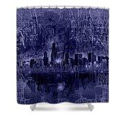 Chicago Skyline Blueprint Shower Curtain