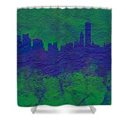 Chicago Skyline Brick Wall Mural 2 Shower Curtain